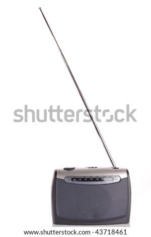 retro  gray radio isolated on white - stock photo
