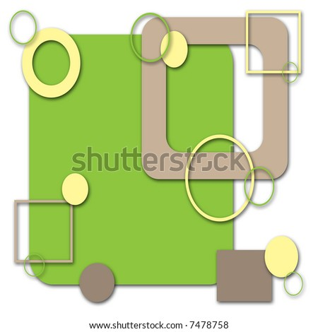 Retro green and yellow background with abstract shapes. - stock photo