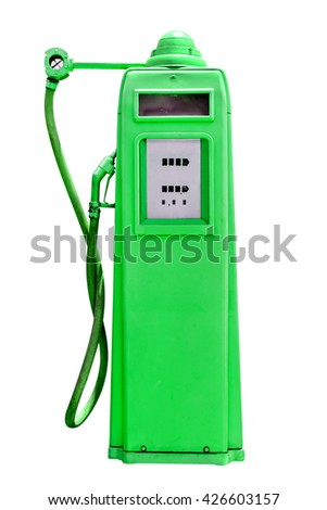 retro green petrol gasoline pump isolated in white background,clipping path - stock photo