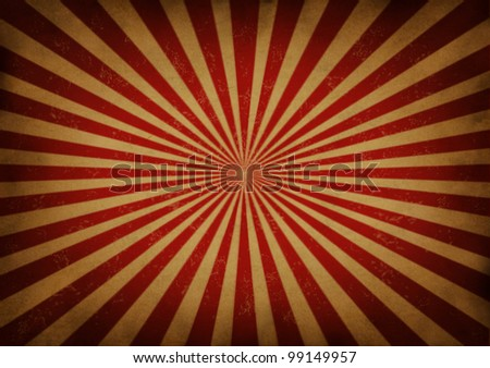 Retro grunge radial star burst or sun beam antique background with old vintage paper texture of red streaks radiating from the center as a symbol of energy and excitement on beige parchment paper. - stock photo