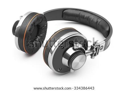 Retro headphones of black leather isolated on white background 3d - stock photo