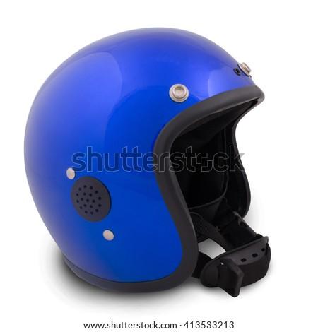 Retro helmet on a white background - stock photo