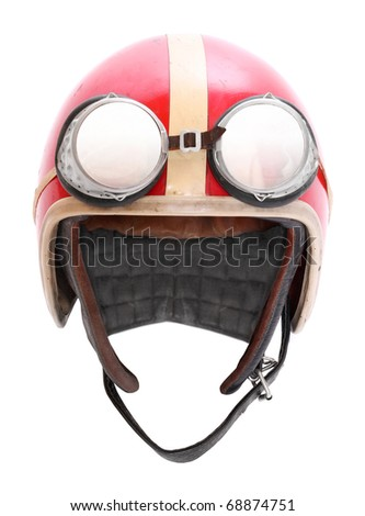 Retro helmet with goggles on a white background. - stock photo