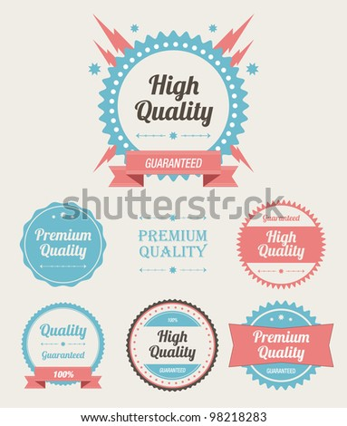Retro High Quality Labels Set - stock photo