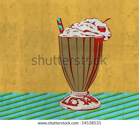 Retro Ice Cream Soda Illustrations - stock photo