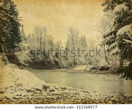 Retro image of winter landscape in the carpathians mountains .   - stock photo