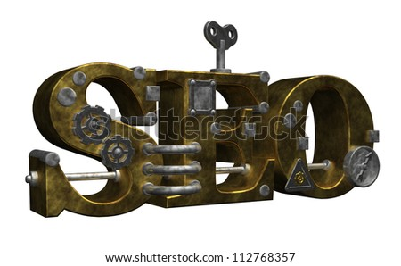 retro industrial letters seo on white background - 3d illustration - stock photo