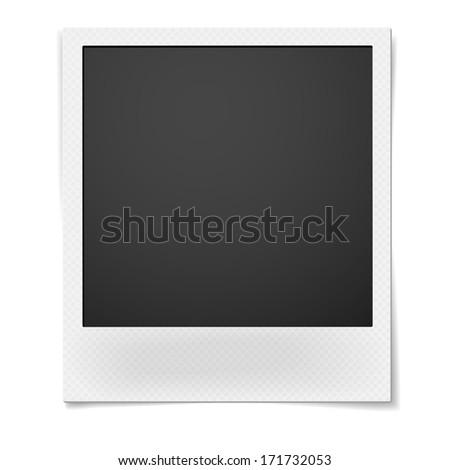 Retro instant photo frame isolated on white background. Raster version illustration. - stock photo