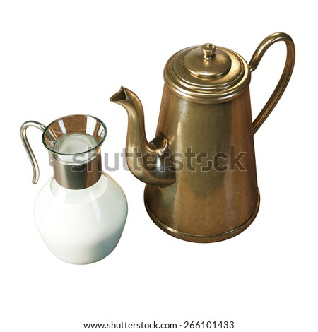 Retro jug full of milk and metal coffee pot Isolated on white background. Bio ingredients   - stock photo