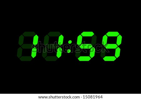 Retro LCD digits clock showing time - stock photo