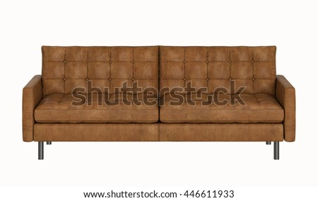 Retro leather sofa isolated on white background - stock photo