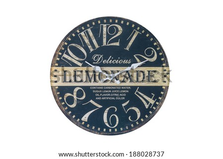 Retro Lemonade Themed Wall Clock Isolated on a White Background - stock photo