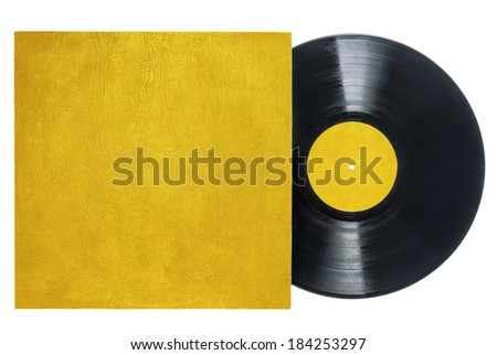 Retro long play vinyl record with gold, textured sleeve and label. - stock photo