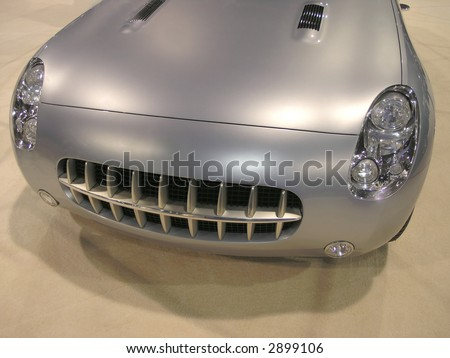 Retro Luxury Sports car front with grille - stock photo