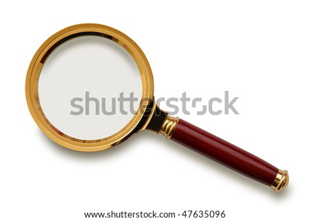 Retro magnifying glass isolated on the white background, clipping path included. - stock photo
