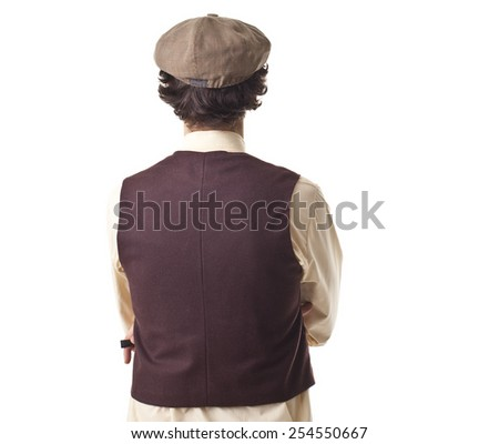 Retro Man Back Portrait. - stock photo