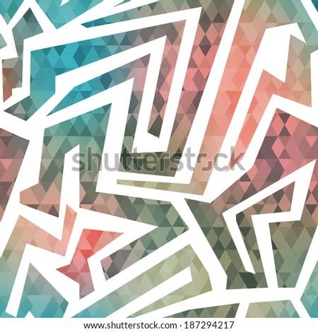 retro maze seamless pattern with triangle background (raster version) - stock photo