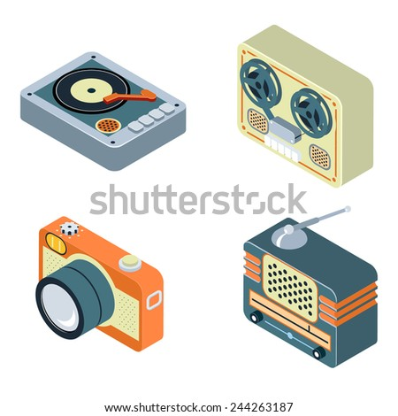 Retro Media. Radio, reel tape recorder and turntable. Old equipment for audio and photo - stock photo