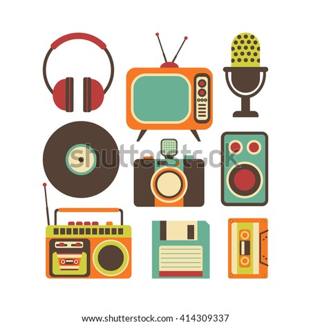 Retro Media technology, flat icons set, illustration of tv, photo camera, cassette, radio tape recorder, microphone, diskette, headphones - stock photo