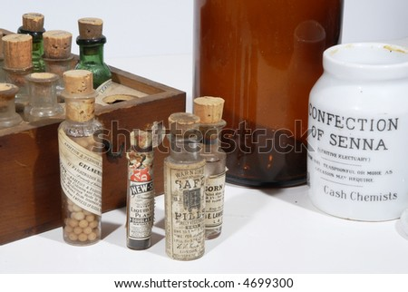 Retro medical bottles used for homeopathic treatment - stock photo