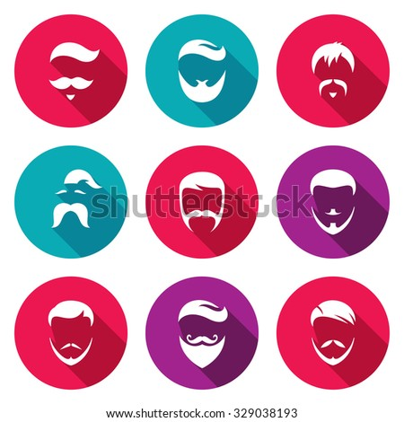 Retro Mens Hair Styles Icons Set. Isolated Flat Icons collection on a color background for design - stock photo