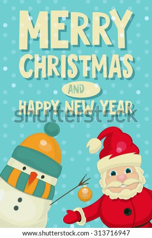 Retro Merry Christmas and New Years Card with Santa Claus and Snowman. Vertical format.  - stock photo