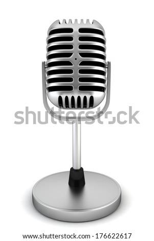 Retro microphone. 3d illustration on white background  - stock photo