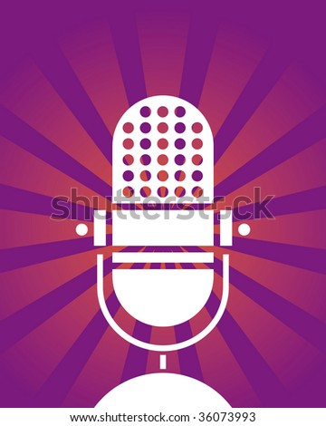 Retro microphone poster. Raster image. Vector format in EPS is also available in my gallery. - stock photo