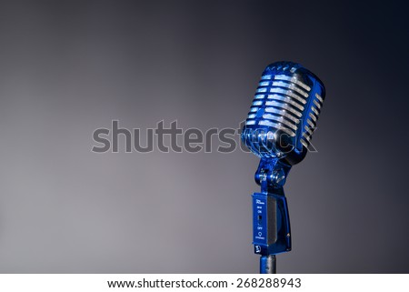 Retro microphone with space for text microphone with space for text - stock photo