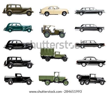 retro model cars on a white background isolated - stock photo