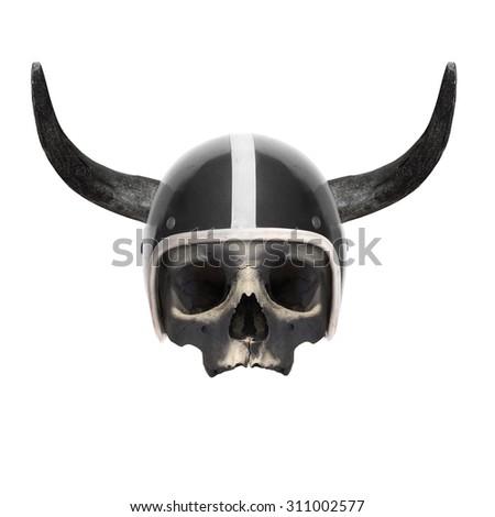 Retro motorcycle helmet with bull's long horns on the skull.  - stock photo