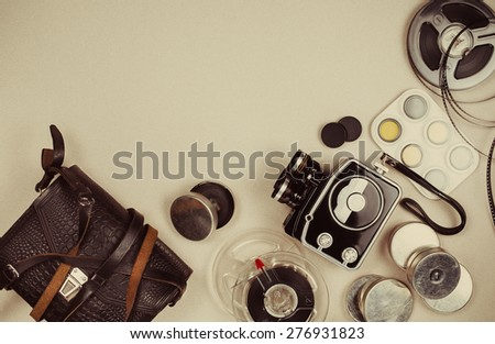Retro movie camera and accessories. Top view - stock photo