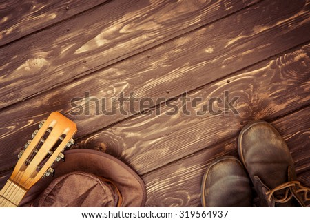 Retro music background with copy space - stock photo
