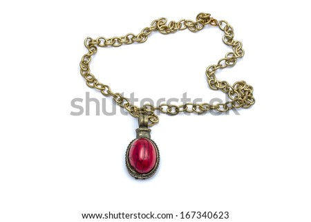 Retro necklace and pendant isolated on white - stock photo