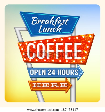 Retro Neon Sign Coffee and Breakfest lettering in the style of American roadside advertising vintage style 1950s - stock photo