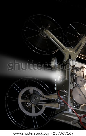 Retro old cinema projector, - stock photo