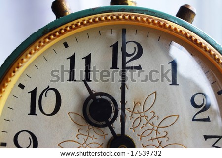 Retro old clock with the gold pattern - stock photo