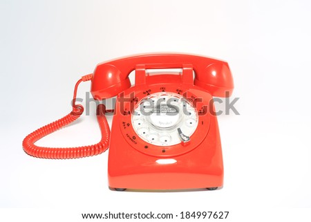 retro old fashion rotary dial phone closed and ready - stock photo