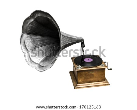 Retro old gramophone with horn speaker for playing music over plates isolated on white - stock photo