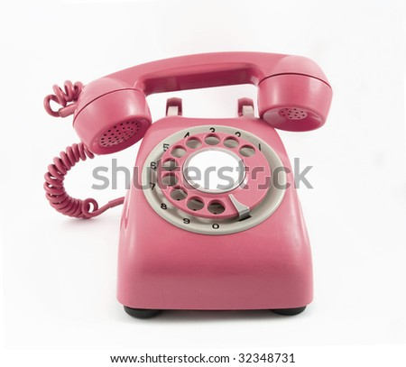 retro old red phone - stock photo