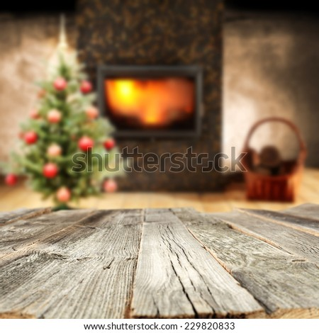 retro old table and interior  - stock photo
