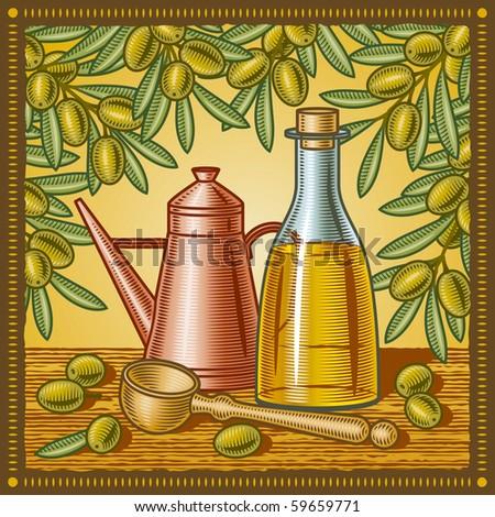 Retro olive oil still life - stock photo