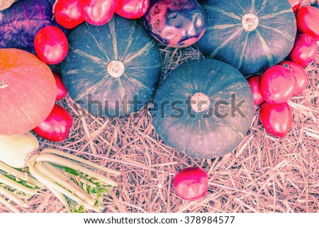 Retro or vintage image with lots of fresh vegetables. - stock photo