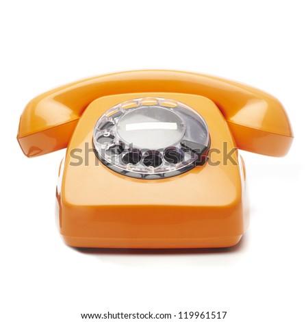 Retro Orange Telephone On White Background - stock photo
