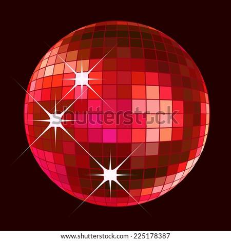 retro party background with disco ball, illustration - stock photo