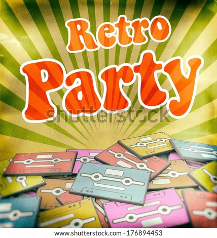 Retro party vintage poster design. Concept on old cassettes - stock photo