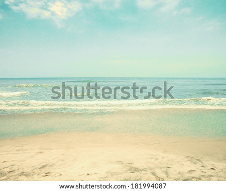 Retro Pastel Beach - stock photo