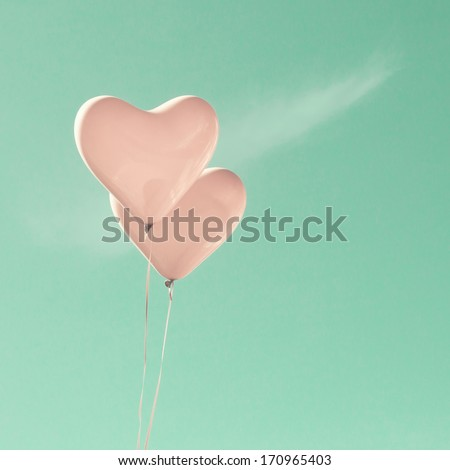 Retro Pastel Love Balloons on Mint Sky - stock photo
