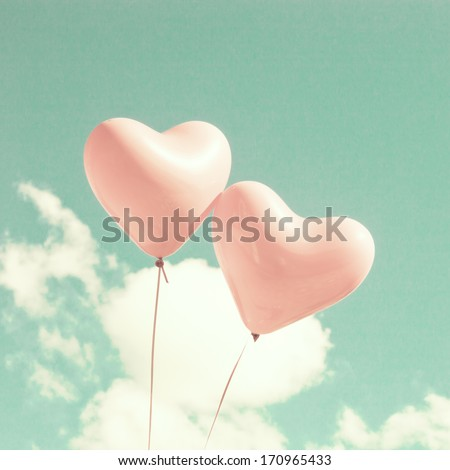 Retro Pastel Love Balloons on Mint Sky - stock photo
