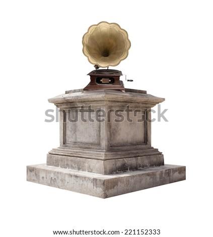 retro pedestal and a gramophone - stock photo